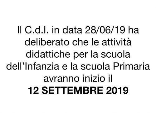Inizio attività didattiche a.s. 2019/20