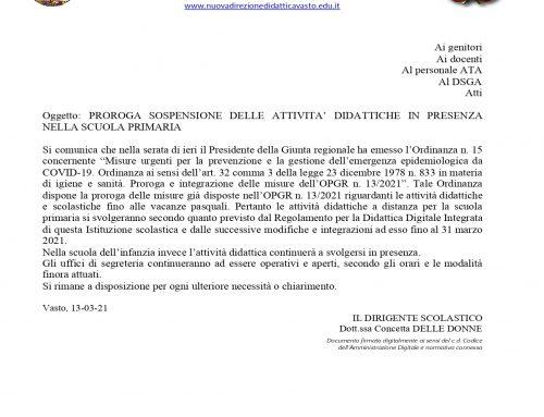 PROROGA SOSPENSIONE ATTIVITA IN PRESENZA SCUOLA PRIMARIA